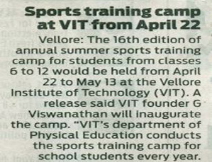 VIT FREE SPORTS SUMMER COACHING CAMP 2019 PRESS NEWS CLIPPINGS