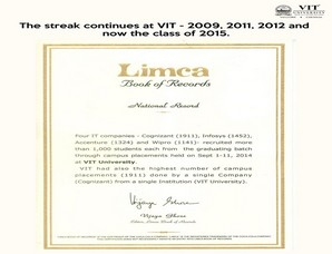 VIT University sets record in Limca Book of Records