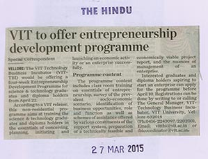 VIT-TBI : Entrepreneurship Development Programme (EDP)