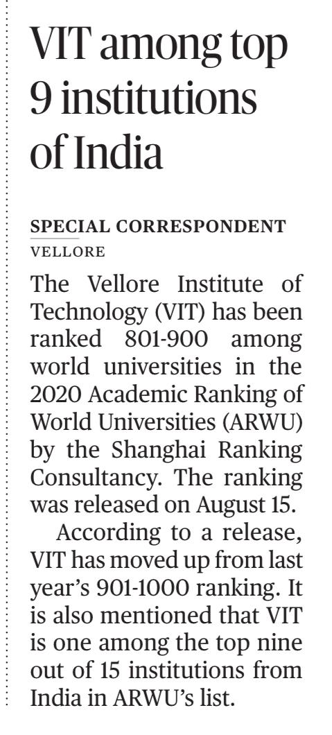 VIT is among the top 9 institutions of India in Shanghai World Universities Ranking 2020