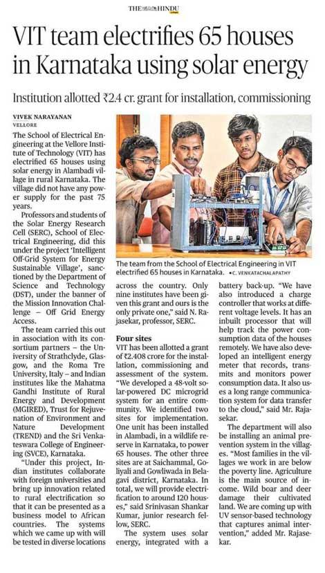 VIT Team Electrifies 65 houses in Karnataka using Solar Energy
