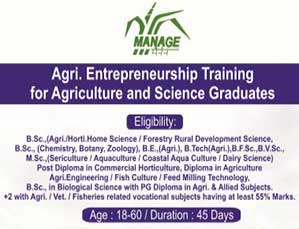 Agri. Entrepreneurship training for  Agriculture and  Science Graduates