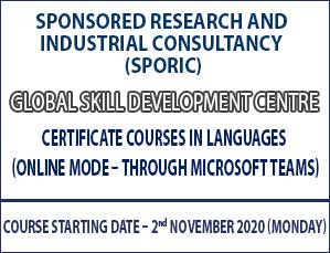 Global Skill Development Centre Certificate courses in Languages (Online Mode – Through Microsoft Teams)
