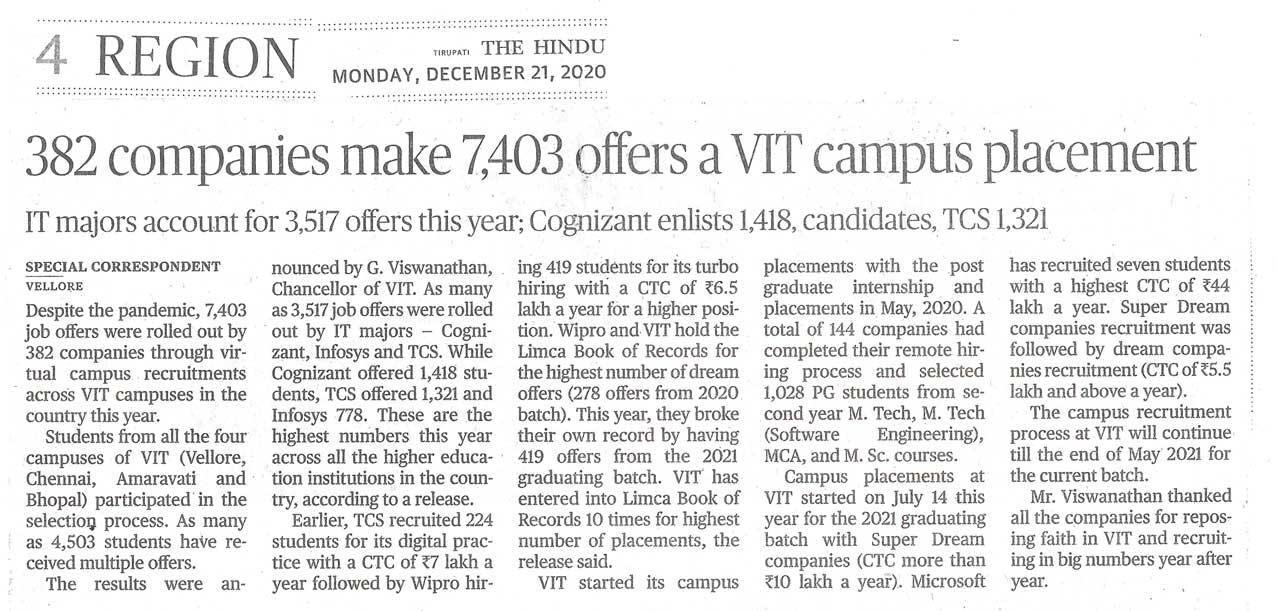 Great Placements for VIT Students, Inspite of The Pandemic