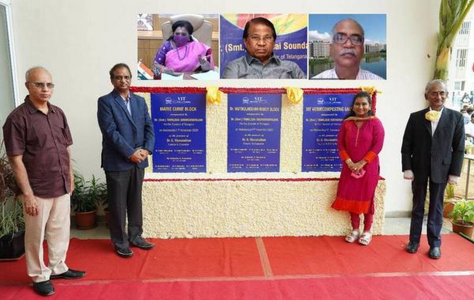 Tamilisai Soundararajan, Governor of Telangana, virtually inaugurated two new women's hostel blocks