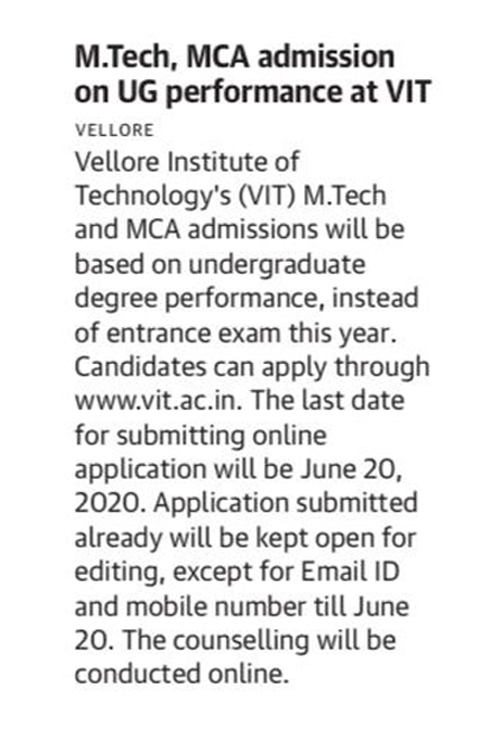 M.Tech & MCA Admissions