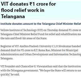 VIT donates ₹1 crore for...