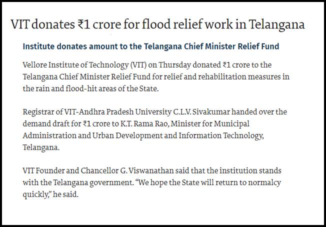 VIT donates ₹1 crore for flood relief work in Telangana