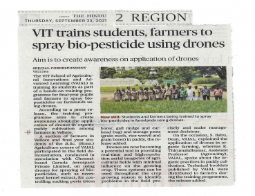 Agri(Vaial) imparts training for students about the use of Drones in organic farming