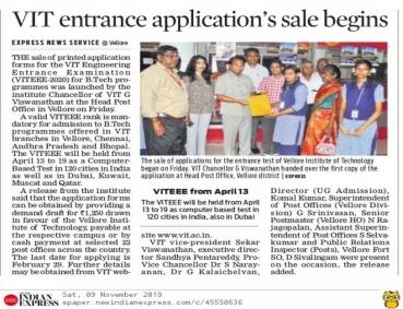 VITEE 2020 Application form Sale Begins